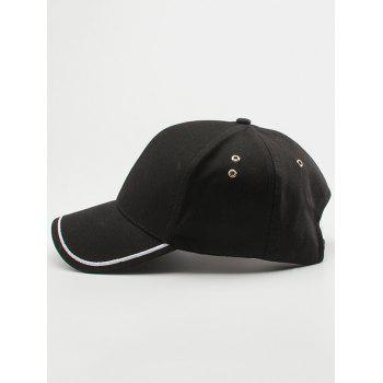 Line Embroidered Baseball Cap -  BLACK
