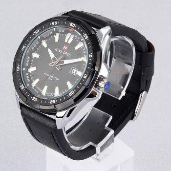 NAVIFORCE 9056 Faux Leather Luminous Date Watch - BLACK LEATHER BAND/WHITE DIAL