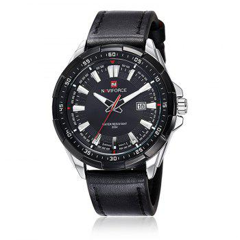 NAVIFORCE 9056 Faux Leather Luminous Date Watch - BLACK LEATHER BAND+WHITE DIAL BLACK LEATHER BAND/WHITE DIAL