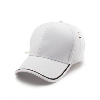 Line Embroidered Baseball Cap - WHITE WHITE