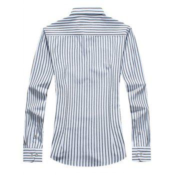 Casual Vertical Stripe Long Sleeve Shirt - BLACK 5XL