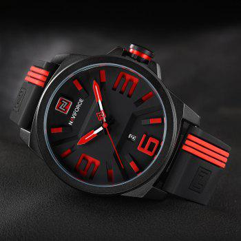 NAVIFORCE 9098 Silicone Strap Luminous Date Watch - RED