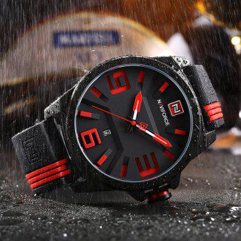 NAVIFORCE 9098 Silicone Strap Luminous Date Watch - Rouge
