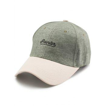 Letters Embroidery Two Tone Baseball Cap - GREEN GREEN