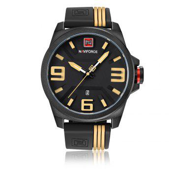 NAVIFORCE 9098 Silicone Strap Luminous Date Watch - YELLOW YELLOW
