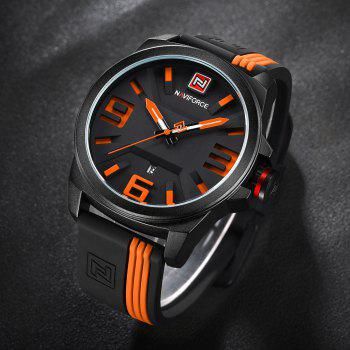 NAVIFORCE 9098 Silicone Strap Luminous Date Watch -  ORANGE