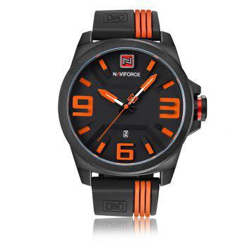 NAVIFORCE 9098 Silicone Strap Luminous Date Watch - ORANGE ORANGE