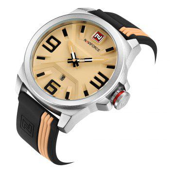 NAVIFORCE 9098 Silicone Strap Luminous Date Watch -  WHITE/YELLOW