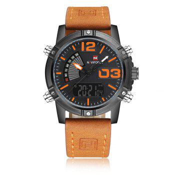 NAVIFORCE 9095 Faux Leather Luminous Analog Digital Watch - MANDARIN MANDARIN
