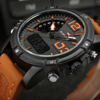 NAVIFORCE 9095 Faux Leather Luminous Analog Digital Watch - MANDARIN