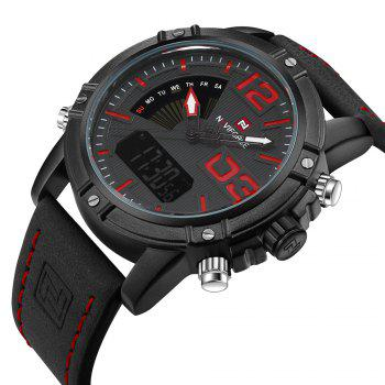 NAVIFORCE 9095 Faux Leather Luminous Analog Digital Watch - BLACK