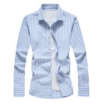 Casual Vertical Stripe Long Sleeve Shirt - BLUE BLUE