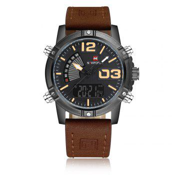 NAVIFORCE 9095 Faux Leather Luminous Analog Digital Watch - BROWN BROWN