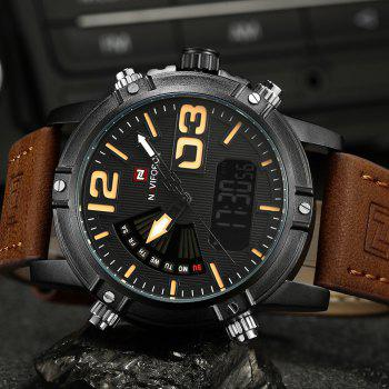 NAVIFORCE 9095 Faux Leather Luminous Analog Digital Watch -  BROWN