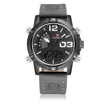 NAVIFORCE 9095 Faux Leather Luminous Analog Digital Watch - GRAY GRAY