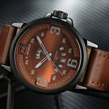 NAVIFORCE 9086 Faux Leather Date Luminous Watch - Noir et Brun