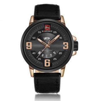 NAVIFORCE 9086 Faux Leather Date Luminous Watch - BLACK AND ROSE GOLD BLACK/ROSE GOLD