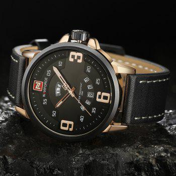 NAVIFORCE 9086 Faux Leather Date Luminous Watch -  BLACK/ROSE GOLD