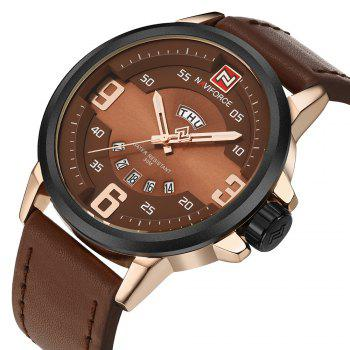 NAVIFORCE 9086 Faux Leather Date Luminous Watch - Rose OR et Brun
