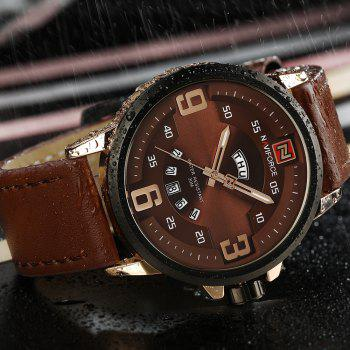 NAVIFORCE 9086 Faux Leather Date Luminous Watch -  ROSE GOLD/BROWN