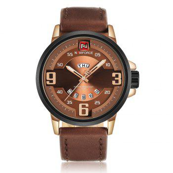 NAVIFORCE 9086 Faux Leather Date Luminous Watch - ROSE GOLD AND BROWN ROSE GOLD/BROWN