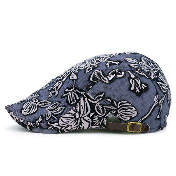 Flower Pattern Retro Newsboy Cap - BLUE BLUE