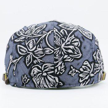 Flower Pattern Retro Newsboy Cap -  BLUE