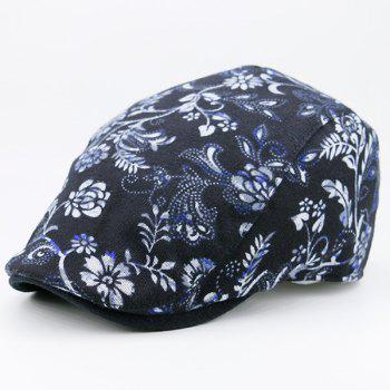 Floral Pattern Warm Retro Newsboy Cap -  BLACK