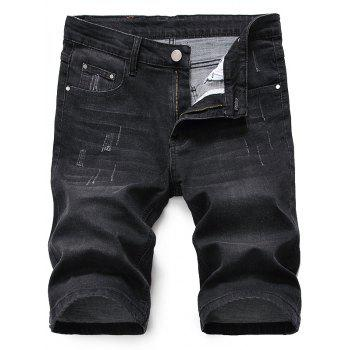 Zipper Fly Scratched Denim Shorts - BLACK GREY 36
