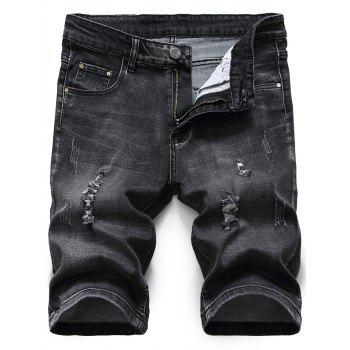 Zipper Fly Distressed Denim Shorts - BLACK GREY BLACK GREY