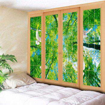 Wall Decor Window Scenery Printed Tapestry - GREEN W59 INCH * L51 INCH
