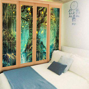 Wall Art Window Tree Print Tapestry - GREEN W79 INCH * L59 INCH