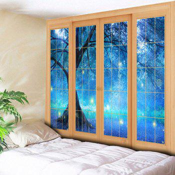 Bedroom Decor Window Life Tree Printed Tapestry - BLUE BLUE