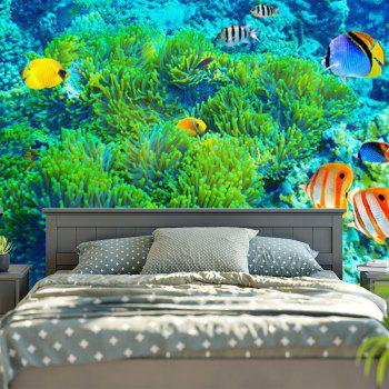 Sea World Print Bedroom Wall Hanging Tapestry - GREEN W79 INCH * L59 INCH