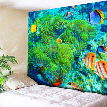 Sea World Print Bedroom Wall Hanging Tapestry - GREEN GREEN