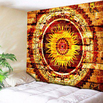 Mandala Brick Wall Printed Bedroom Tapestry - YELLOW W59 INCH * L51 INCH