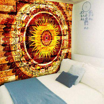 Mandala Brick Wall Printed Bedroom Tapestry - YELLOW W79 INCH * L59 INCH