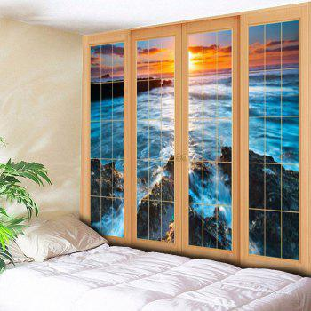 Wall Hanging Window Sea Pattern Tapestry - BLUE W79 INCH * L59 INCH