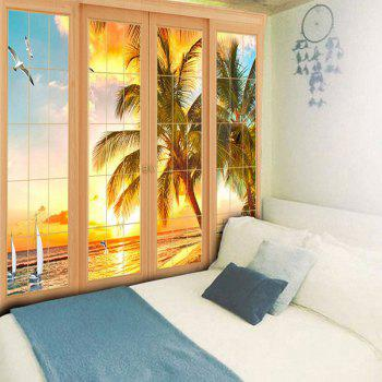 Wall Art Window Coconut Palm Tapestry - YELLOW W59 INCH * L51 INCH