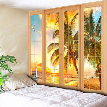 Wall Art Window Coconut Palm Tapestry - YELLOW YELLOW