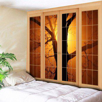 Wall Hanging Window Tree Pattern Tapestry - YELLOW W79 INCH * L59 INCH