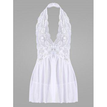 Halter Lace Backless Sheer Babydoll - WHITE L
