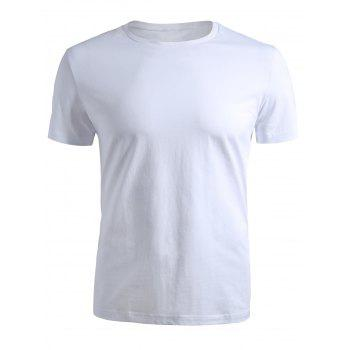 Ribbed Neck Short Sleeve T-shirt - WHITE XL