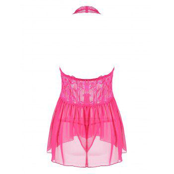 Halter Lace Backless Sheer Babydoll - S S