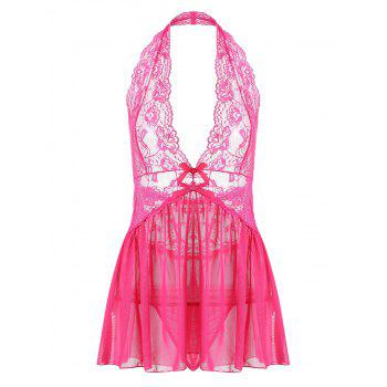 Halter Lace Backless Sheer Babydoll - WATER RED S