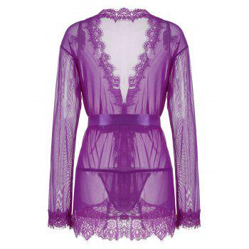 Lace Trim Sheer Wrap Kimono Dress - 2XL 2XL