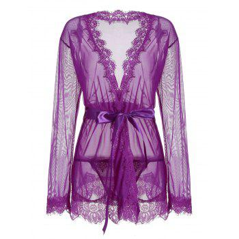 Lace Trim Sheer Wrap Kimono Dress - PURPLE 2XL