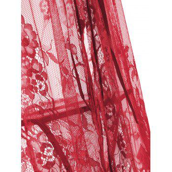 Lace Sheer Split Slip Babydoll - Rouge XL