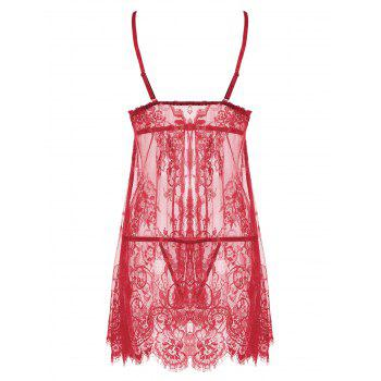 Lace Sheer Split Slip Babydoll - L L