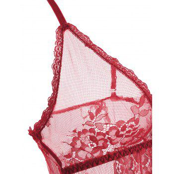 Lace Sheer Split Slip Babydoll - RED RED